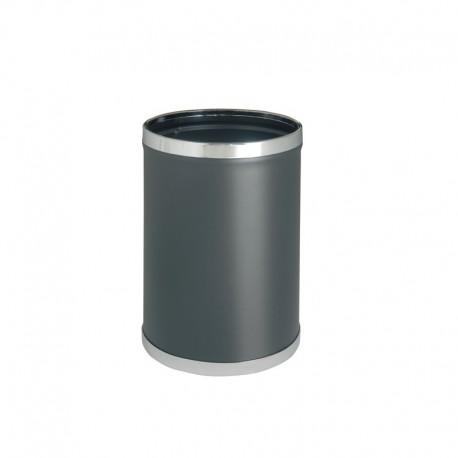 Papelera metálica forrada en vinilo negro - 92