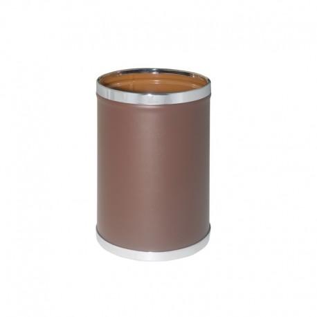 Papelera metálica forrada en vinilo marrón - 93