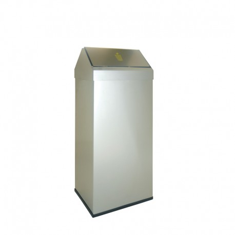 Papelera metálica con cabezal basculante acero inoxidable -123-2-I